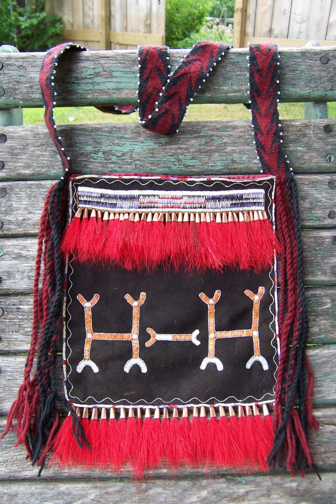 Image of Leather Bag with Porcupine Quillwork.
