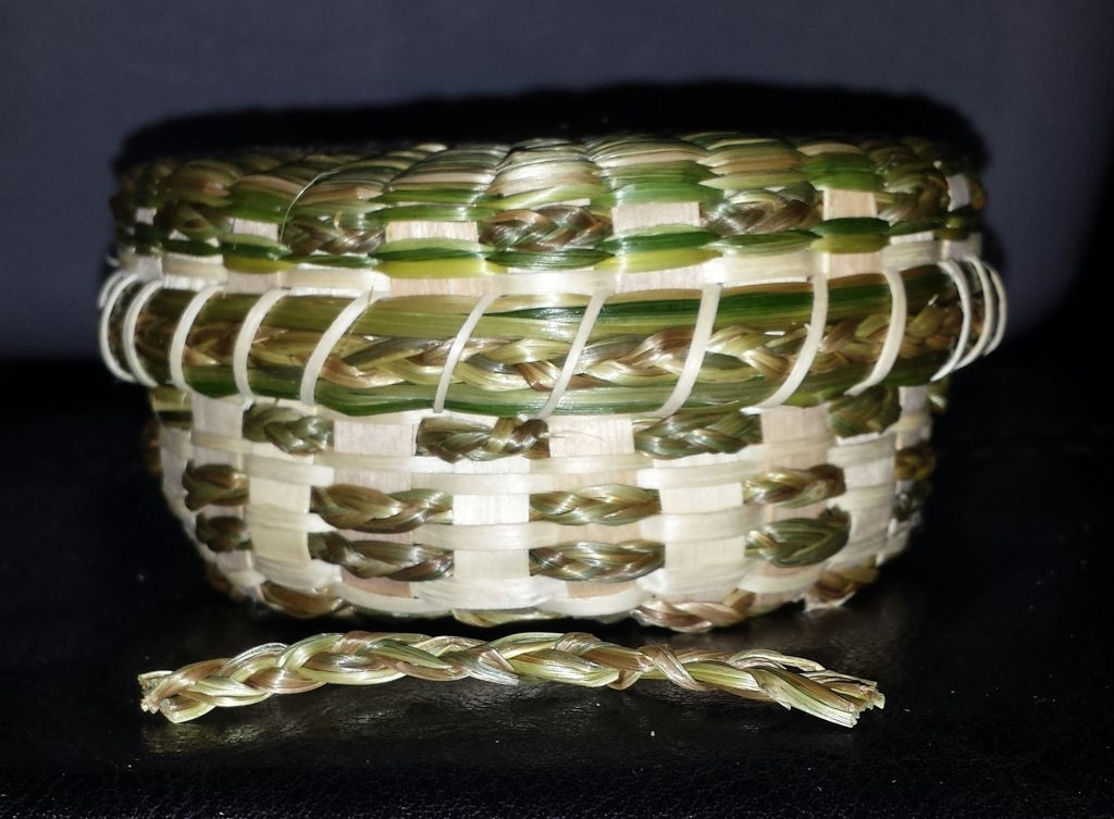 Image of  Ash and Sweetgrass Basket.