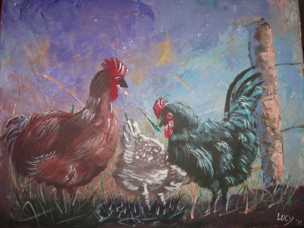 Image of painting of chickens and rooster.