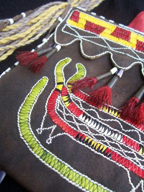 Image of  Detail of Quilled Underwater Panther Bag, in the permanent  collection of the American Museum of Natural History..