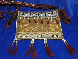 Image of Quilled Bag with Finger Woven Strap,