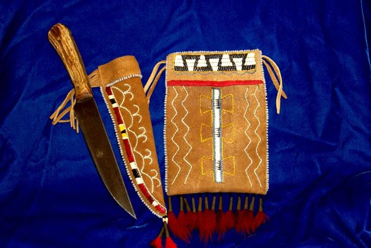 Image of Quilled Knife Sheath and Bag.