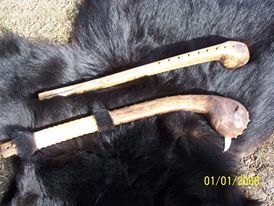 Image of war clubs made by Bernie Mortz.