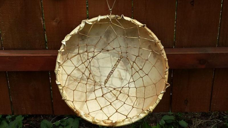 Image of back side of drum made by Bernie Mortz.