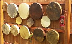 Image of hand drums made by Bernie Mortz.