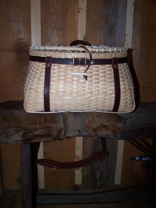 Image of Fish Creel with Leather Straps.