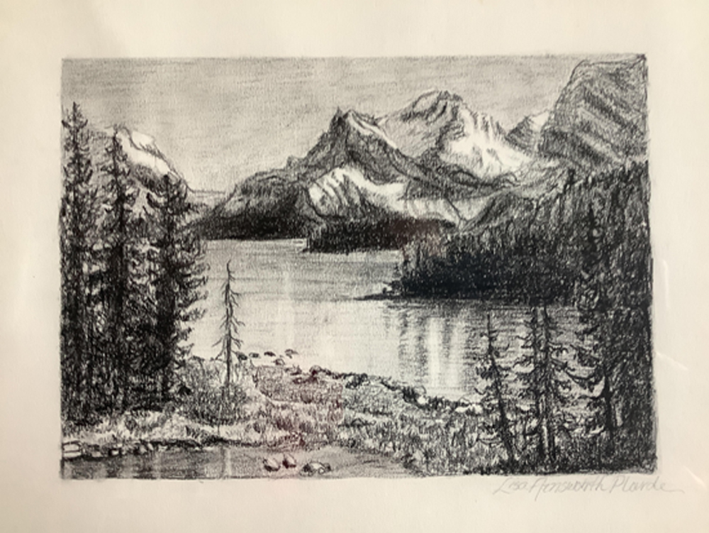 Image of charcoal drawing of Banff by Lisa Ainsworth Plourde.