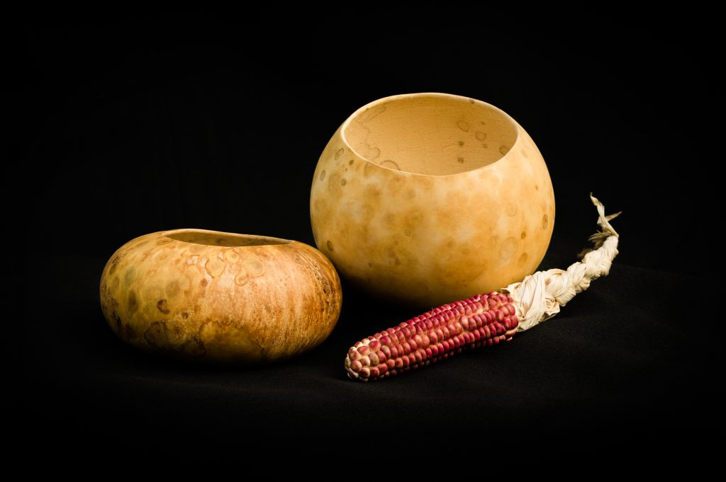 Image of gourd bowls with corn.