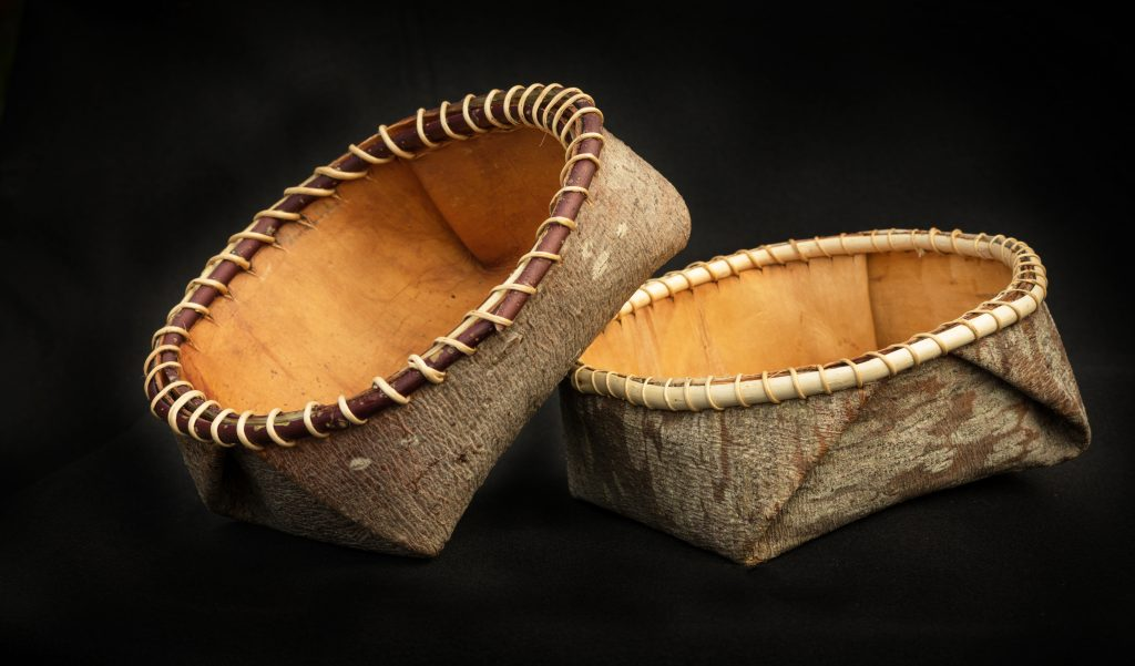 Image of spruce and bark baskets.